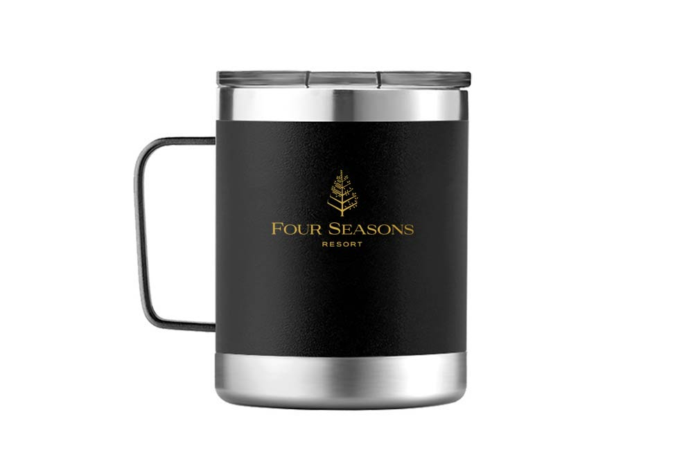Custom Company Logo on Matte Black Two Tone Stainless Steel Camper Mug