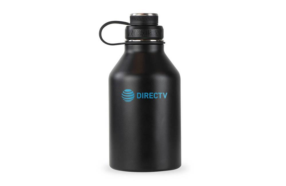 EcoVessel Matte Black Vacuum Insulated Growler with Custom Engraved Company Logo