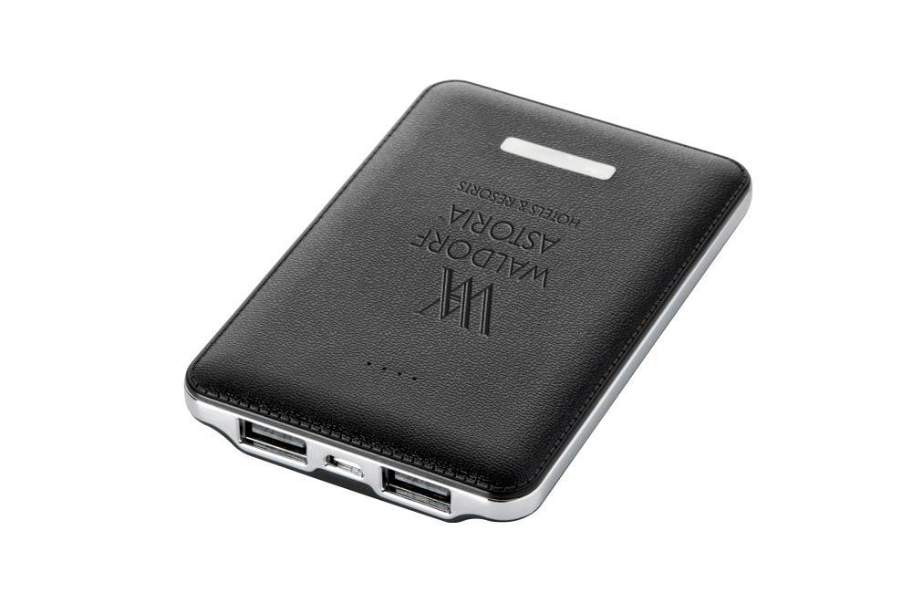 Dual Port Leather Cover Power Bank with Custom Logo Promotional Gift