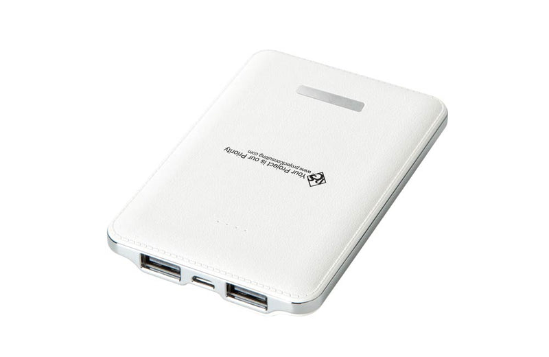 White Faux Leather Texture Powerbank with Custom Full Color Company Logo