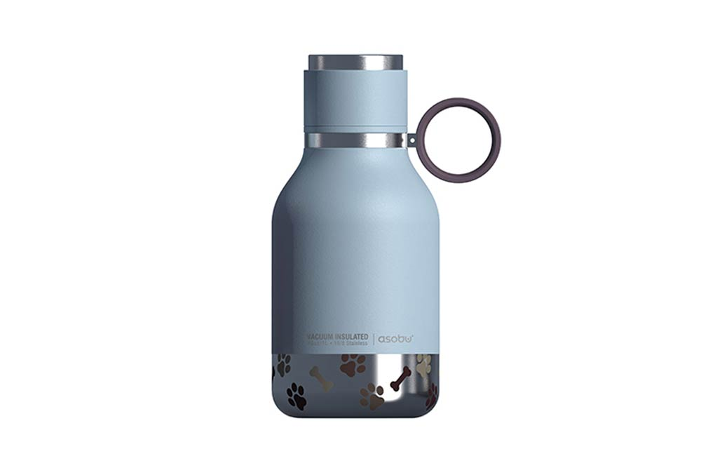 Light Blue Stainless Steel Bottle with Dog Bowl