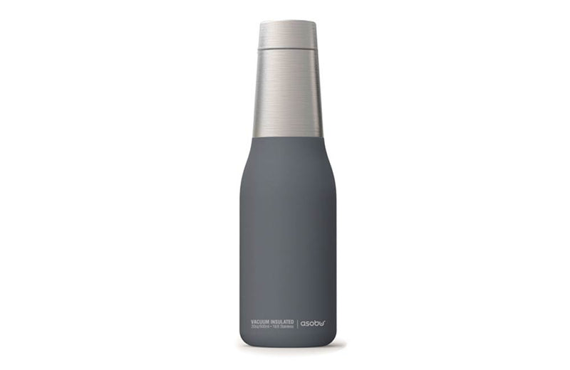 Rubberized Grey and Stainless Steel Beer Bottle