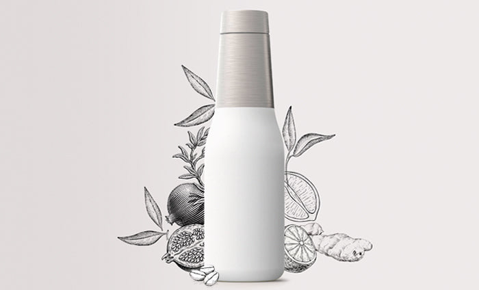 White ASOBU Drink Bottle with Decorative Background