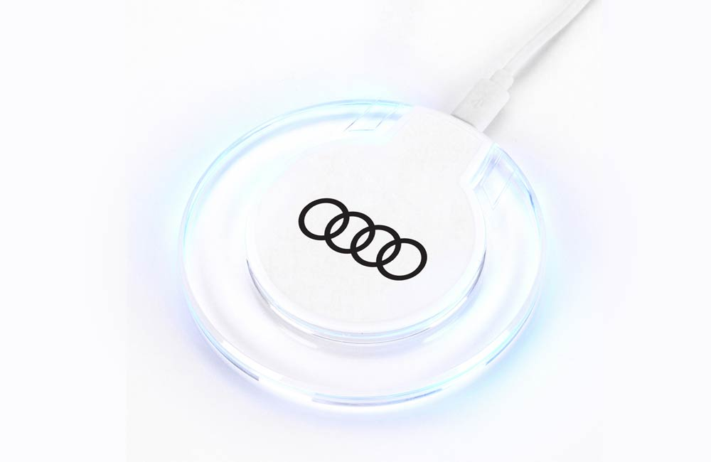 White Ultra-Slim LED Wireless Charging Disk with Custom Company Logo