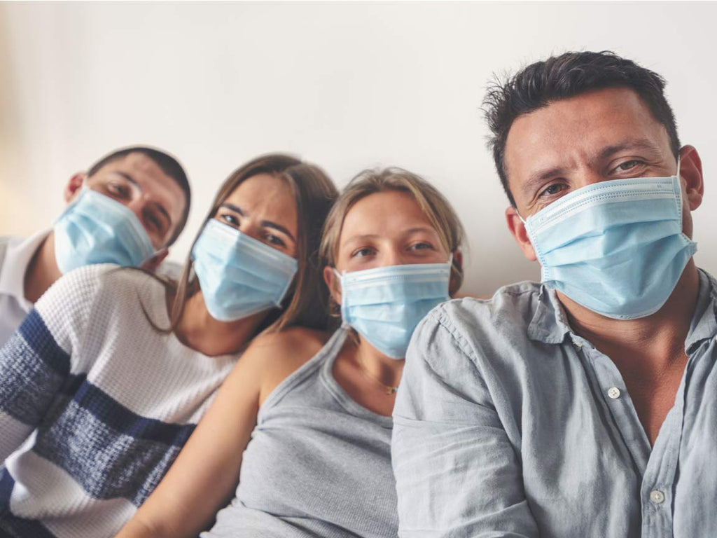 Family with Disposable Face Masks