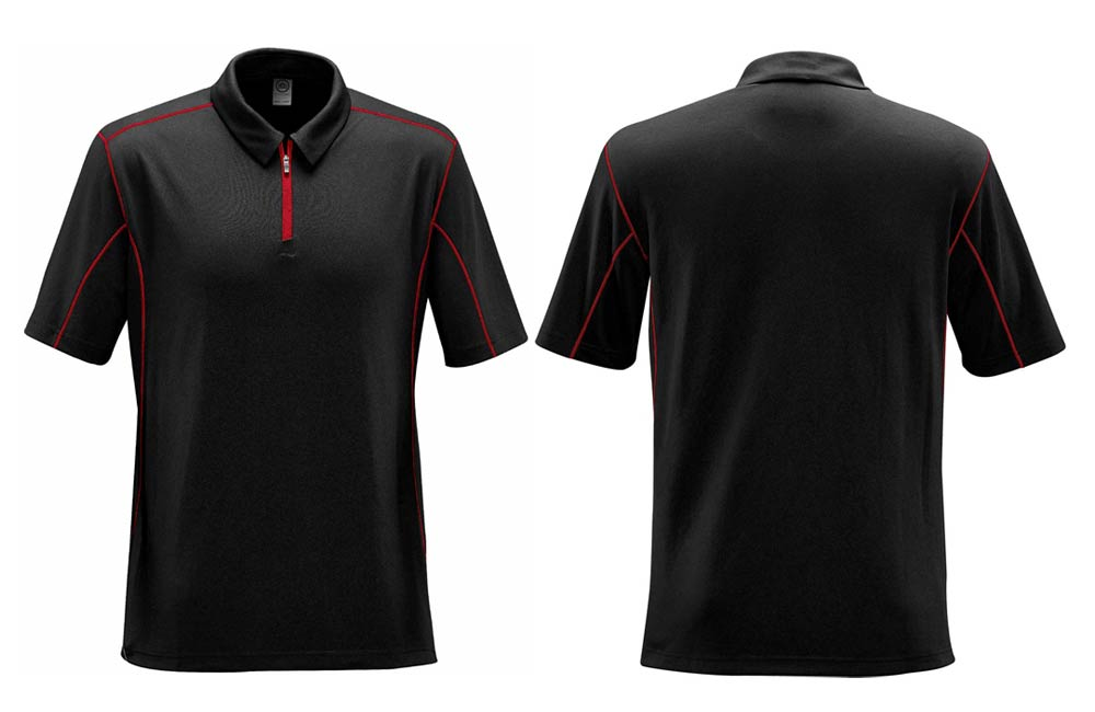 1/4 Zippered Uniform Polos with Red