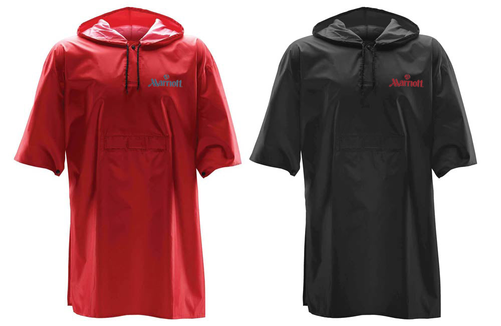 Torrent Snap Fit Rain Poncho in Black and Red with Screen Printed Logo