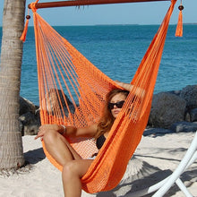 "Load image into Gallery viewer, Large Caribbean Hammock Chair 48"" Soft Spun Polyester - Orange"
