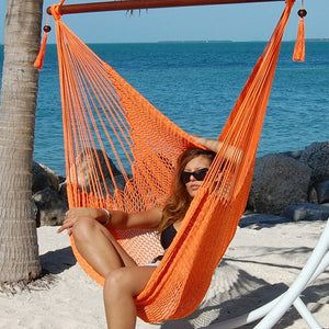 "Large Caribbean Hammock Chair 48"" Soft Spun Polyester - Orange"