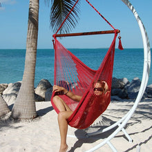 "Load image into Gallery viewer, Large Caribbean Hammock Chair 48"" Soft Spun Polyester - Red"