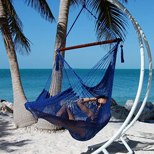 Large Caribbean Hammock Chair–48 Inch–Polyester–Hanging Chair–dark blue