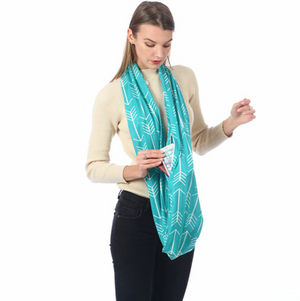 Infinity Style Security Scarf With Hidden Pocket in Arrow Print