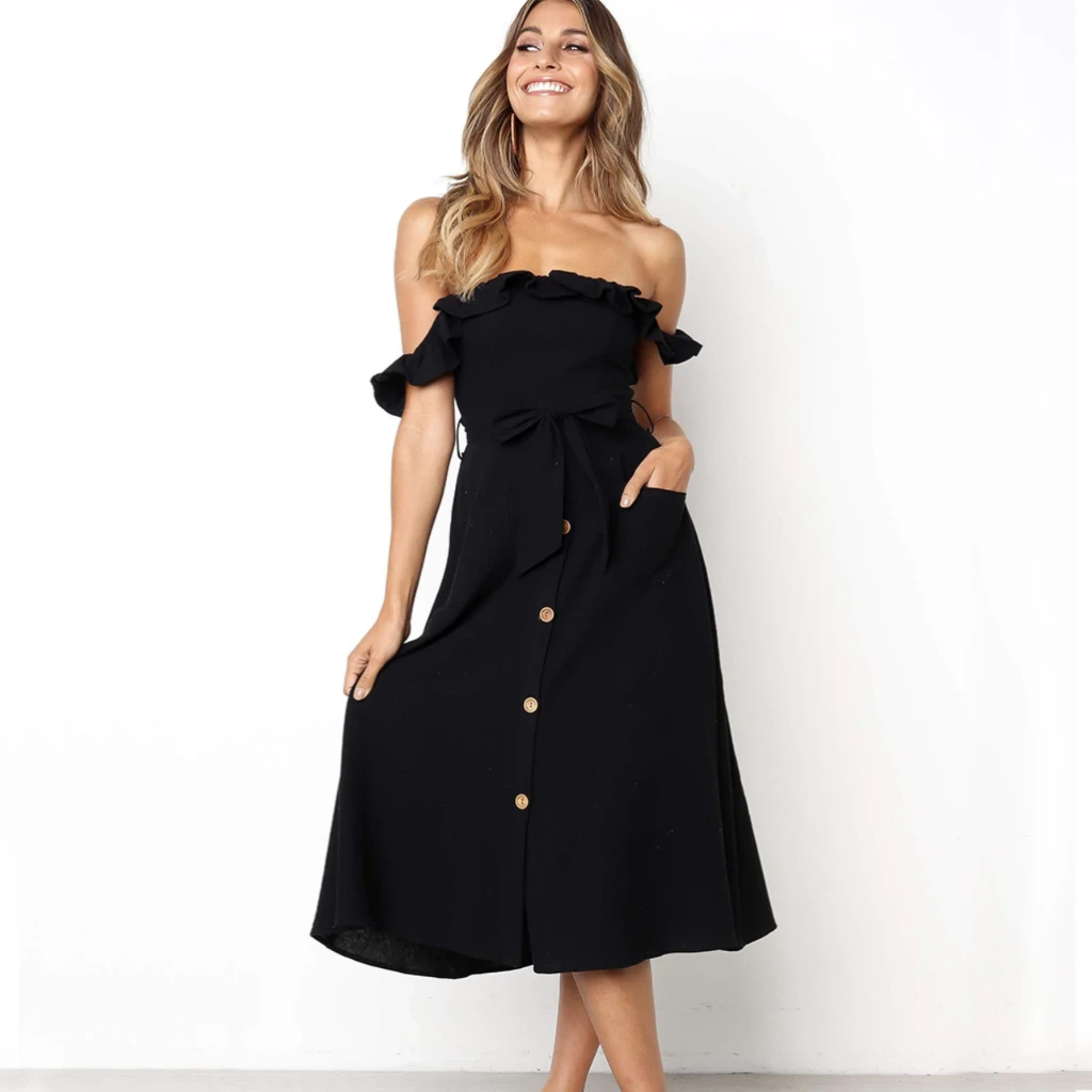 SHELLEY Ruffle Sleeve Off-The-Shoulder Dress