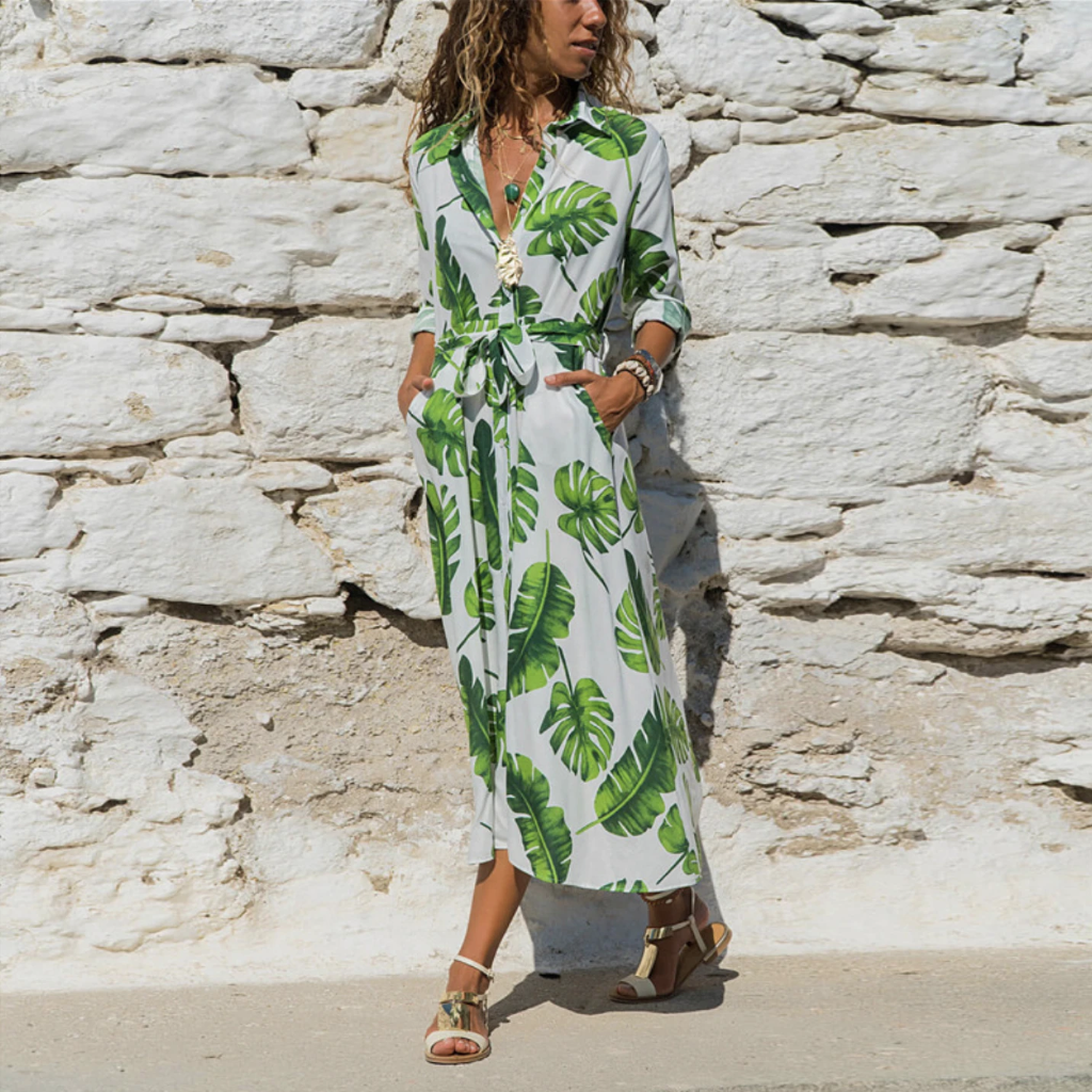 FRANCESCA Flowy V-Neck Midi Shirt Dress