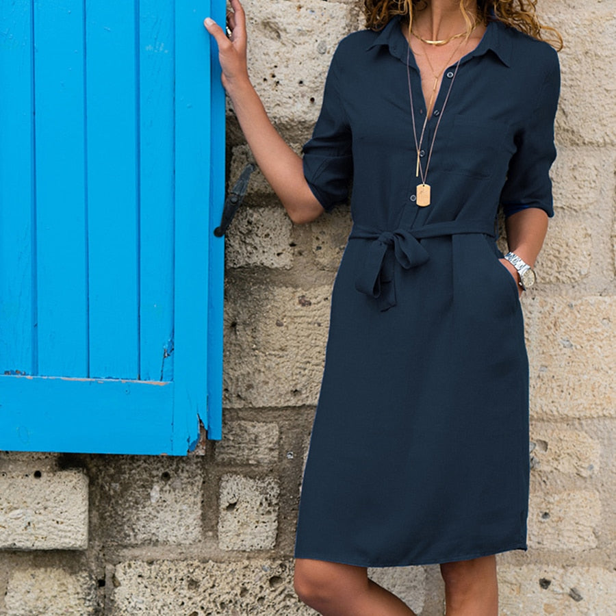 MARIE Turn-Down Collar Belted Shirt Dress - Pockets On My Dress