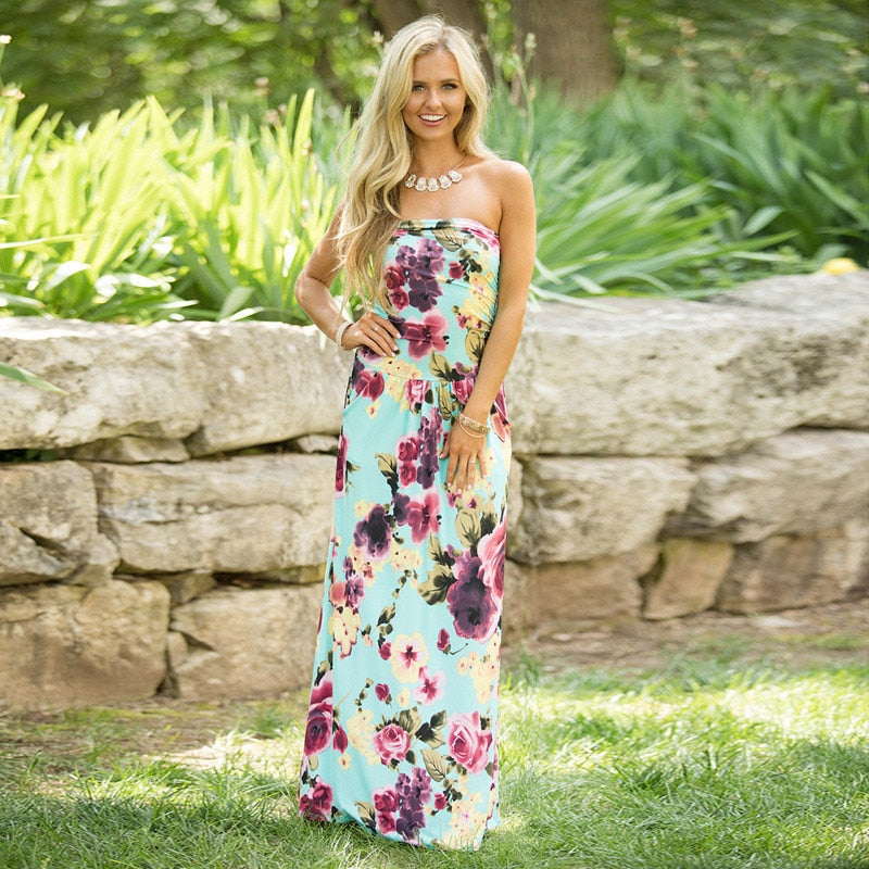 LOUISE Floral Strapless BOHO Maxi Dress - Pockets On My Dress