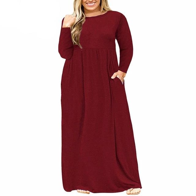 BREE Long Sleeve Empire Waist Maxi Dress - Pockets On My Dress
