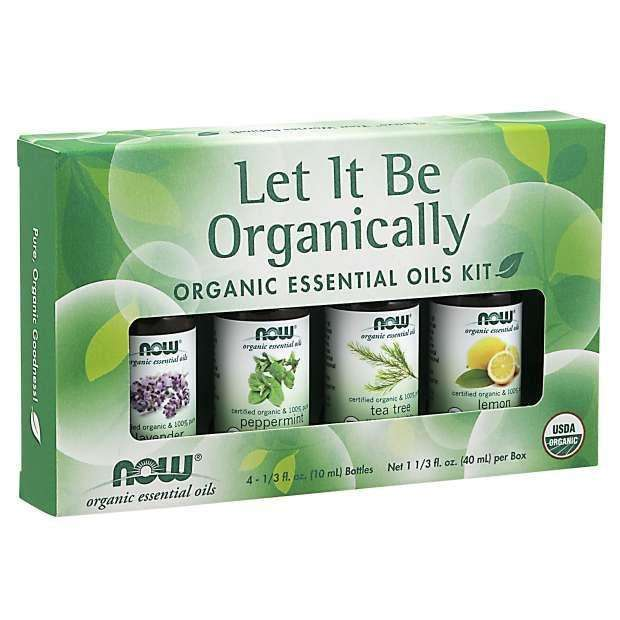 Now Let It Be Organically, Organic Essential Oils Kit, 4 Bottles, 10ml Each