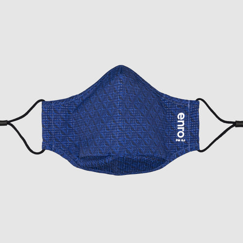 Navy::geometric face mask in blue