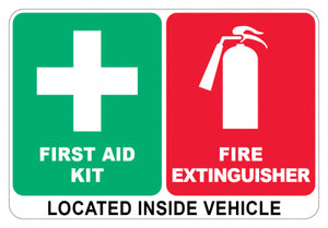 Vinyl Vehicle Sticker - First Aid & Fire Extinguisher