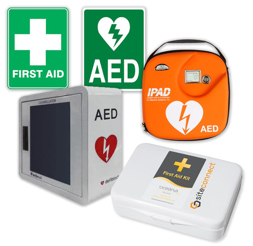 Wall Mount First Aid Kit & Indoor Alarmed Defibrillator Bundle