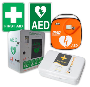 Wall Mount First Aid Kit & Secure Cabinet Defibrillator Bundle