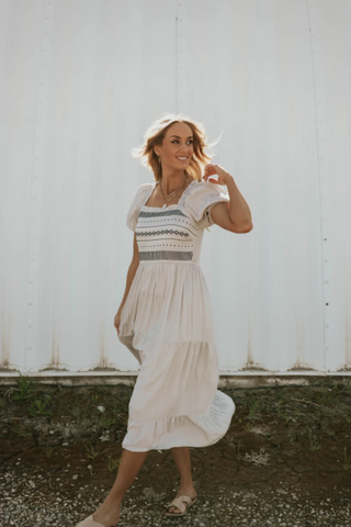 Wear a fun and flowy dress if you're signed up for a couples dance class together. www.loveoliveco.com