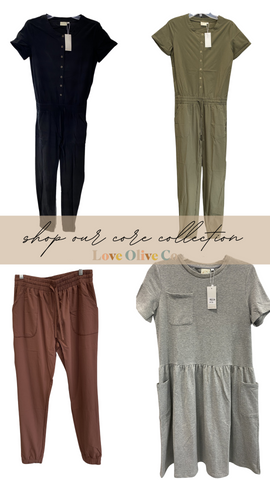 Shop our core collection, everything is cute and cozy! www.loveoliveco.com