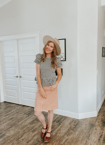 I love how this corduroy skirt look turned out. www.loveoliveco.com