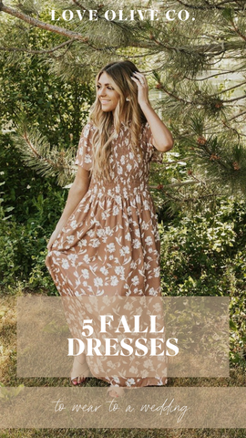 5 fall dresses to wear to a wedding. www.loveoliveco.com