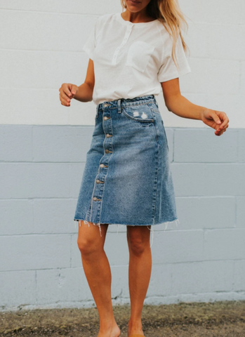 Every closet needs a denim skirt! www.oliveave.com