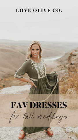 Favorite dresses to wear to a Fall wedding. www.loveoliveco.com