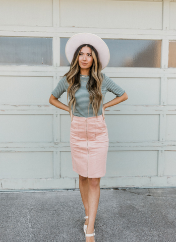 Corduroy skirts are so fun to wear! www.loveoliveco.com