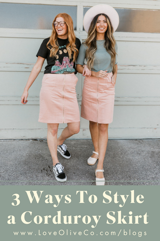 How to wear a corduroy skirt www.loveoliveco.com