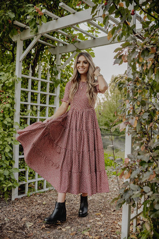 flowy, ruffled burgundy dress perfect for summer or fall. www.loveoliveco.com