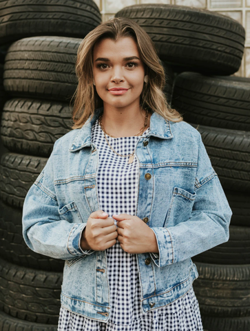 The jean jacket that can be paired with literally any back to school outfit--for the mom or the college kid. www.loveoliveco.com