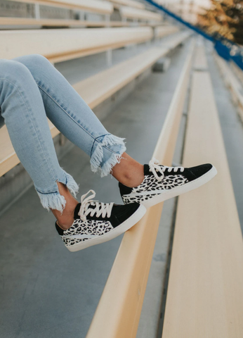 Try these cheetah sneakers to spice up your back to school outfit. www.loveoliveco.com