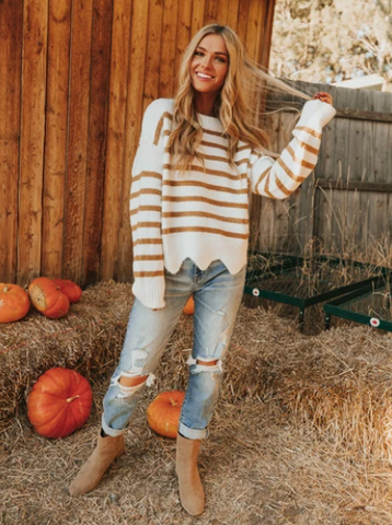 Striped sweater for the pumpkin patch this fall. www.loveoliveco.com
