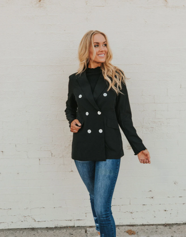 make a statement with this black blazer. www.loveoliveco.com