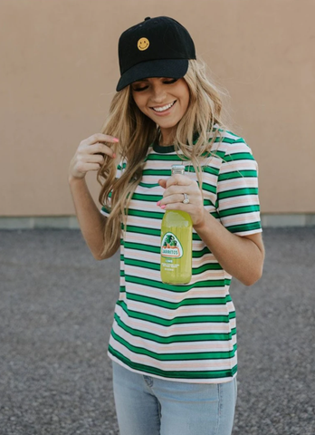 striped tee and baseball hat look. www.loveoliveco.com