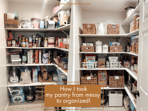 How I took my pantry from messy to organized. www.love oliveco.com