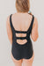 Ruffle Back One Piece-Black