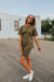 Olive Ave Boutique; Front View: Mallin Top+Short Set In Olive, Comes In Sizes Small, Medium, Large, Fabric: 92% Cotton // 8% Spandex
