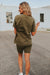 Olive Ave Boutique; Back View: Mallin Top+Short Set In Olive, Comes In Sizes Small, Medium, Large, Fabric: 92% Cotton // 8% Spandex