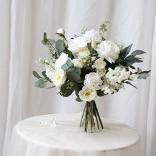 Load image into Gallery viewer, White Rose, Peony, Lily Eucalyptus Bouquet