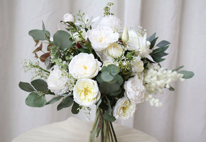 White Rose, Peony, Lily Eucalyptus Bouquet
