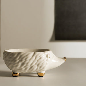 Ceramic White Gold Hedgehog Soap Dish