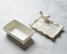 Load image into Gallery viewer, Ceramic White Gold Bird Soap Dish