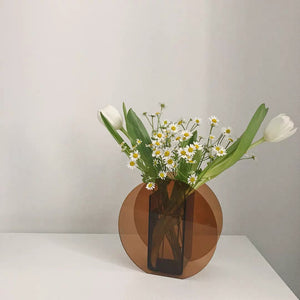 Acrylic Brown Arched Round Shape Vases