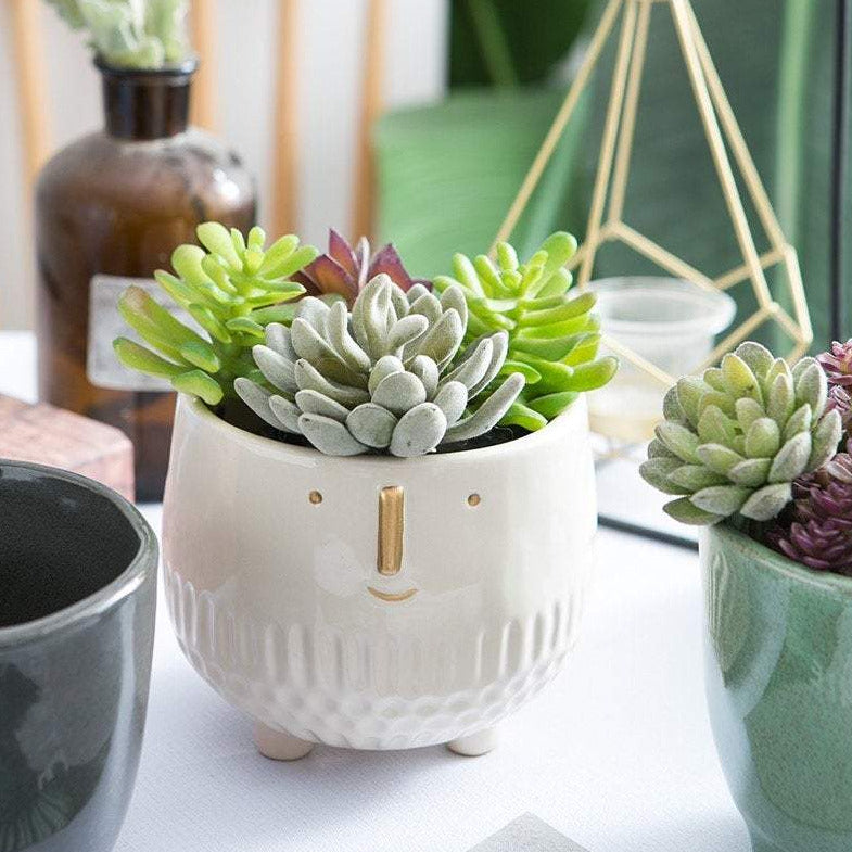 Ceramic Happy Face Planter